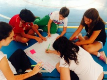 Grade 8 students participating in the thinking routine Chalk Talk